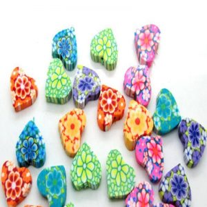 Polymer Clay Heart Beads