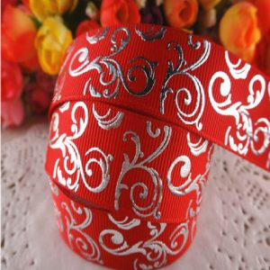 Grosgrain Ribbon - Red Silver Swirls
