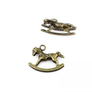 Vintage Antique Bronze Rocking Horse Charm