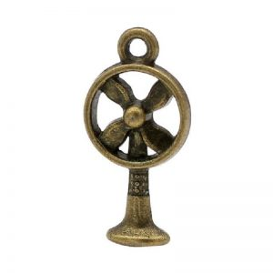 Vintage Antique Bronze Fan Charm