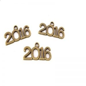 Antique Bronze 2016 Year Metal Charm