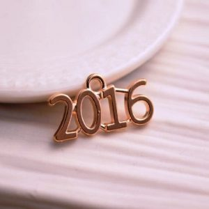 Gold 2016 Year Metal Charm