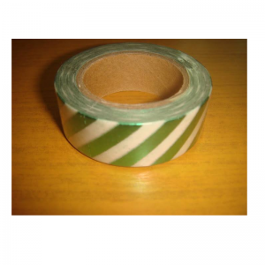 Shiny Tape Green & White With Lines