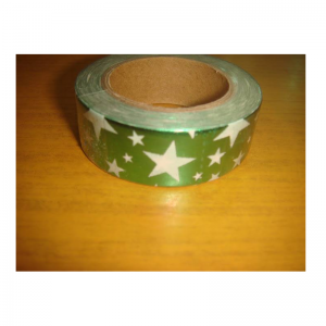Shiny Tape Green With White Star