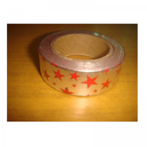 Shiny Tape Silver With Red Star