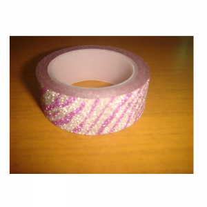 Glitter Tape Silver With Purple Lines