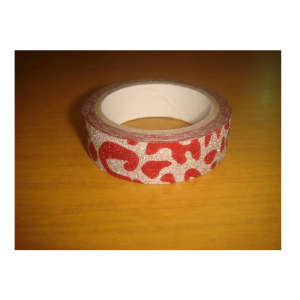 Glitter Tape Silver With Red Colour Leopard Print