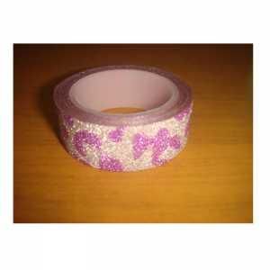 Glitter Tape Silver With Purple Leopard Print