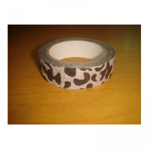 Glitter Tape Silver With Black Leopard Print