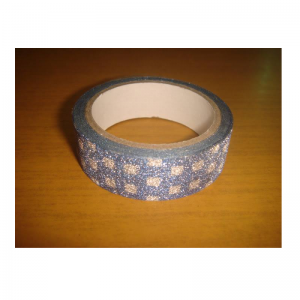 Glitter Tape Silver With Blue Circles