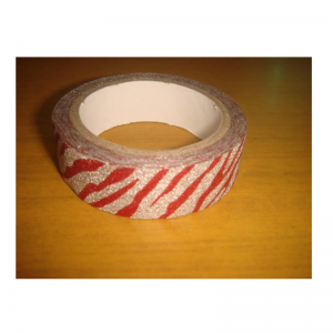 Glitter Tape Silver With Red Lines