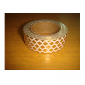 Shiny Tape White Colour With Gold Flower