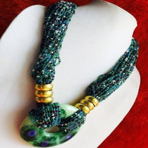 Bohemian Style Peacock Feather Motif Pendant & Beads Necklace