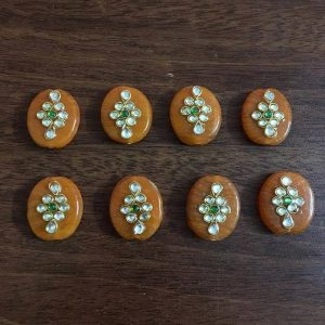 Orange Kundan Work Oval Beads