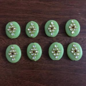 Light Green Kundan Work Oval Beads