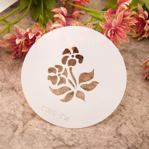 Five Petal Flower With Leaf Stencil
