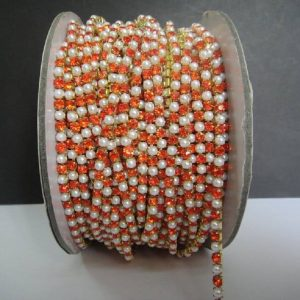 Pearl & Orange Rhinestone Chain