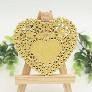 Gold Heart Shape Paper Doilies