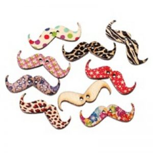 Printed Mustache Button
