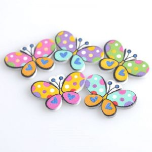 Printed Butterfly Mixed Colour Button