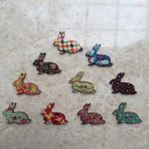 Retro style Printed Rabbit Button