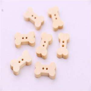 Natural Colour Dog Bone Button