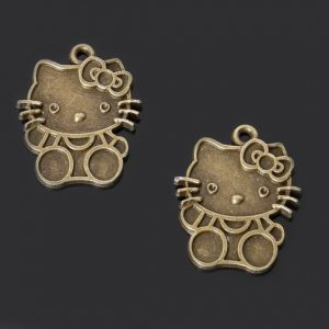 Antique Bronze Hello Kitty Pendant Charm