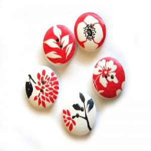 Red Flower Print Round Button