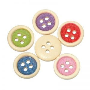 Mixed Colour Sunken Button With Natural Wood Colour Borders