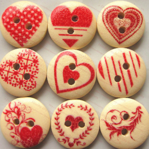 Round Wooden Buttons With Love Theme Print