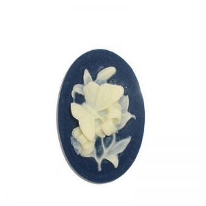 Butterfly & Flowers Oval Cameo Resin Embellishment
