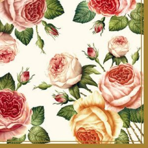 Tea Roses Cream Decoupage Napkin