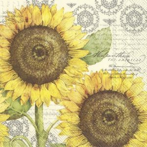 Botanical Sunflower Cream Decoupage Napkin