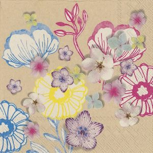 Flowers In Brown Background Decoupage Napkin