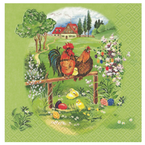 Roosters Decoupage Napkin