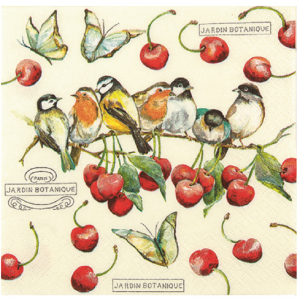 Cherry Birds Decoupage Napkin