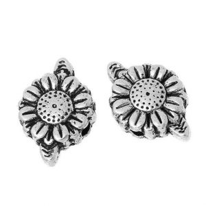 Antique Silver Flower With Leaf Beads