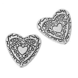 Antique Silver Heart Beads