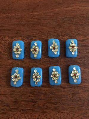 Light Blue Kundan Work Rectangle Beads