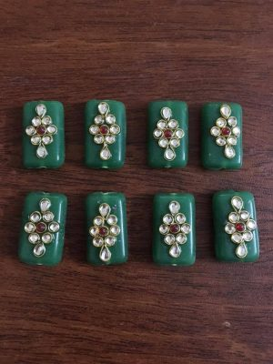 Green Kundan Work Rectangle Beads