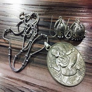 Ganesh German Silver Pendant With Jhumkas
