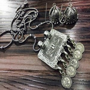 Rectangle German Silver Pendant With Jhumkas