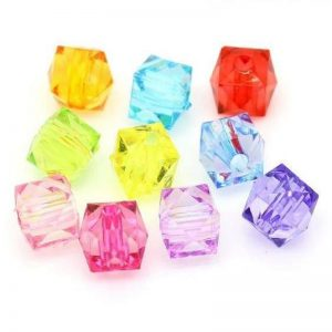 Acrylic Mixed Colour Cube Beads