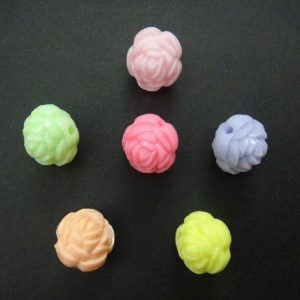 Resin Rose Bud Beads