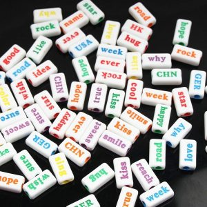 White With Colour Print Acrylic Word Beads