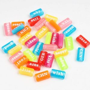 Transparenet Candy Colour Acrylic Word Beads