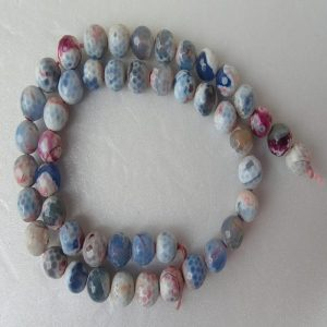 Mixed Colour Shades Of Blue And White Agate Beads