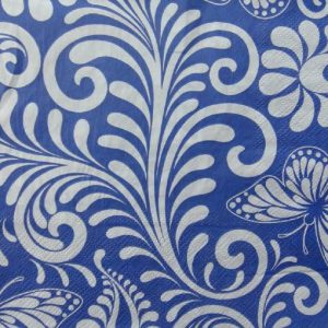 Blue With White Swirls Decoupage Napkin