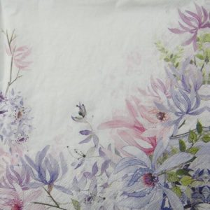 Flowers In White Background Decoupage Napkin