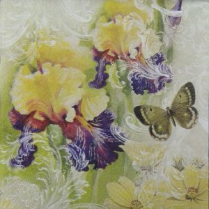 Chrysanthemum & Butterfly Decoupage Napkin